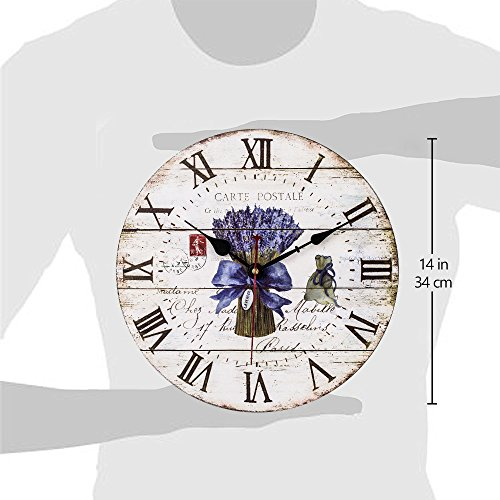 Home Decor Clock, Colorful Retro Roman Numerals Style,Silent Non -Ticking Quartz Battery Operated Wooden Wall Clock, Large Wall Art Decorative for Kitchen,Living Room and Kids Room(14 Inch, Lavender) by SkyNature (Image #3)
