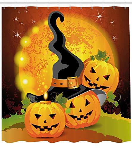 Ambesonne Halloween Shower Curtain by, Witches Hat Spooky Pumpkins Magical Night Autumn Nature Full Moon, Fabric Bathroom Decor Set with Hooks, 70 Inches, Light Orange Green -