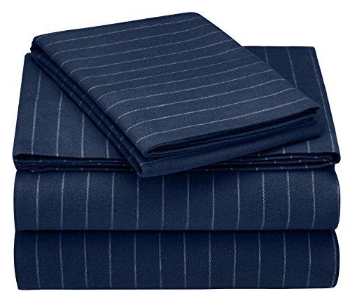 Pinzon 160 Gram Pinstripe Flannel Sheet Set - Twin XL, Navy Pinstripe - PZ-PLFLAN-NP-TNXL (Sets Sheet Flannel Cheap Twin)