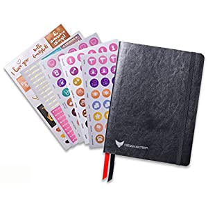 Law of Attraction Life Planner - Academic planner to Increase Productivity & Happiness - Weekly Planner, Organizer & Gratitude Journal (Dated 2018, Black) + BONUS Planner Stickers