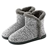 Neeseelily Women Cozy Plush Fleece Bootie Slippers Winter Indoor Outdoor House Shoes (9.5-10 B(M) US, Light Grey)