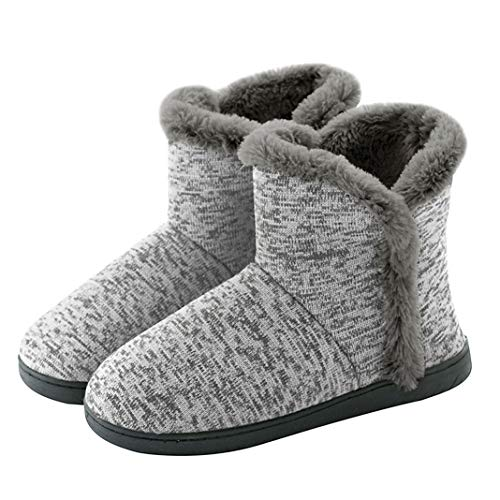 Neeseelily Women Cozy Plush Fleece Bootie Slippers Winter Indoor Outdoor House Shoes (7-7.5 B(M) US, Light Grey) ()