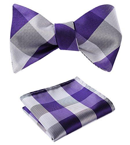 BIYINI Men's Check Bowtie Jacquard Woven Party Self Bow Tie Set Purple