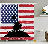 Ambesonne American Shower Curtain, Bless America Silhouettes of American USA Flag Background Valor Patriot Theme, Fabric Bathroom Decor Set with Hooks, 84 Inches Extra Long, Black and Red