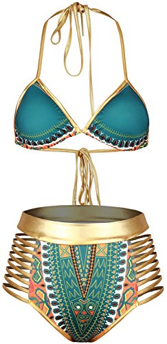 Pandolah-Womens-Padded-High-Waist-Halter-Totem-Swimwear-Sexy-Ethnic-Bikini-Sets