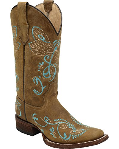 Corral Cercle G Femmes Brodé Libellule Cowgirl Boot Carré Orteil Tan 5,5 M Us