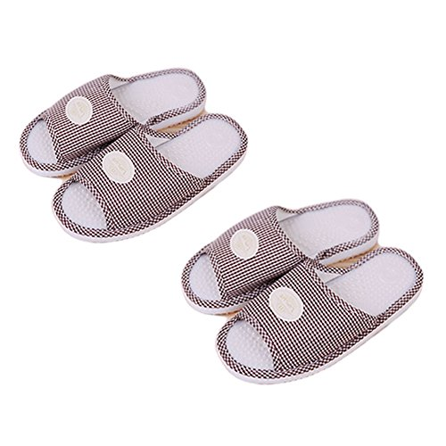 LIPLUS Massage Slippers Foot Massager Shoes Shiatsu Relax Sandals Acupressure Treatment Indoor Shoes, 2 Pairs (Brown)