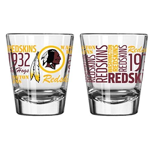 Official Fan Shop Authentic NFL Logo 2 oz Shot Glasses 2-Pack Bundle. Show Team Pride at Home, Your Bar or at The Tailgate. Gameday Shot Glasses for a Goodnight (Washington Redskins - Spirit Shot)