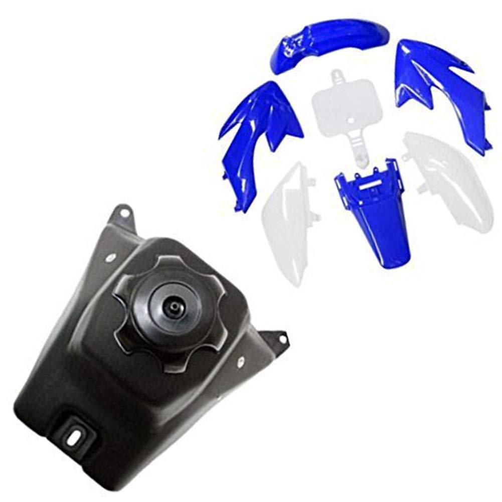 TDPRO Plastic Fairing Kit Body Fender and Gas Fuel Tank for Honda XR50 CRF50 Pit Dirt Bike (Blue)