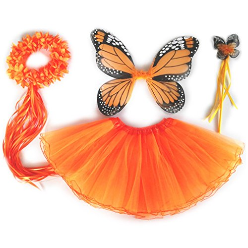 [4 PC Girls Fairy Princess Costume Set with Wings, Tutu, Wand & Halo (Orange)] (Fairy Costumes Girl)