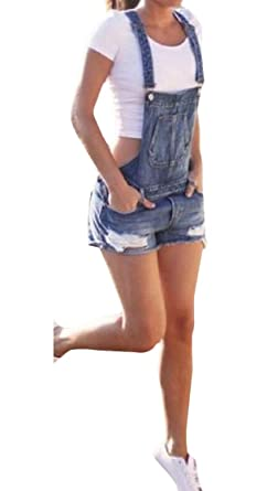 ef07d2770ad6 Joe Wenko Women's Suspender Jean Ripped Faded Denim Bib Overalls Shorts at  Amazon Women's Clothing store: