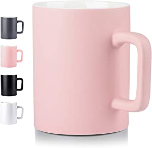 Ceramic Cup,NEWANOVI Smooth Frosted Porcelain Mug, Coffee Mugs, Tea Cup, for Office and Home, Health Gift, Maximum Capacity 16.9oz, Pink