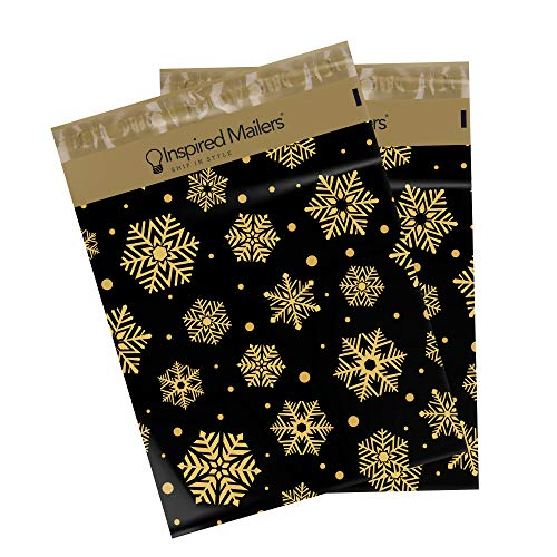 Inspired Mailers Poly Mailers 10x13 Deluxe Golden Snowflakes – Pack of 100 – Unpadded Shipping Bags
