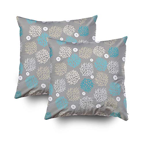 HerysTa Christmas Home Decorative Cotton Pillowcase Pack of 2 16X16inch(40x40cm) Invisible Zipper Cushion Cases Reef Sand Dollar Beach Theme Square Pillow Case Cover for Sofa or Bed ()