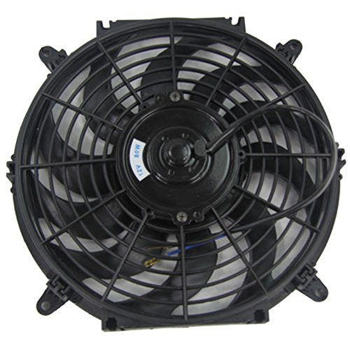 ALLOYWORKS 9 Inch Pull/Push Electric Radiator Cooling Fan with Thermo Curved Blade (12v Black) ()