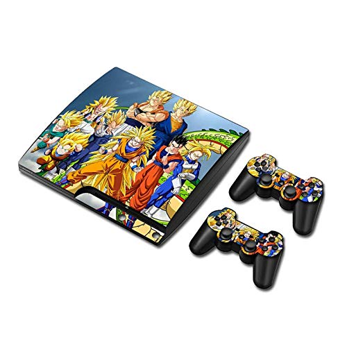 Dragonball HD Printing Playstation 3 Slim Skin Set - Protective Vinyl Skin Decal Sticker for PS3 Slim Console and 2 PS3 Controller by Mr Wonderful Skin (Ps3 Controller Skin Weed)