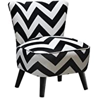 Skyline Furniture Mid Century Modern Chair in Zig Zag Black and White