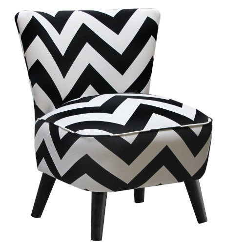 Skyline Furniture Mid Century Modern Chair in Zig Zag Black and White - Skyline Upholstered Chair