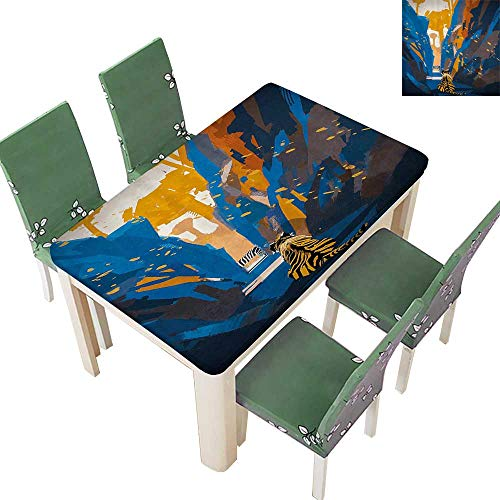 Printsonne Decorative Tablecloth African Tiger in City Streets Narrow Walls Digital Jungle Savannah Assorted Size 54 x 120 Inch