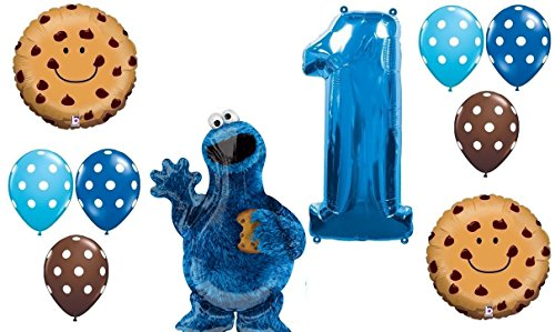 10pc BALLOON set NEW COOKIE MONSTER sesame street PARTY 1st BIRTHDAY first GIFT decor FAVORS chocolate chip (1st Birthday Favor)