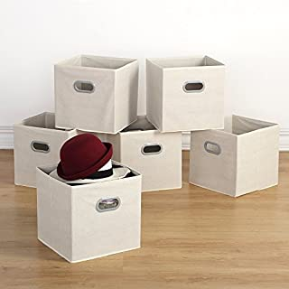 Housen Solutions Storage Bins   Collapsible Storage Cube Organizer,  Nonwoven Basket Container Fabric Drawers Set