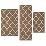 kitchen rugs and runners Maples Rugs Kitchen Rug Set - Rebecca [3pc Set] Non Kid Accent Throw Rugs Runner [Made in USA] for Entryway and Bedroom, Café Brown/White