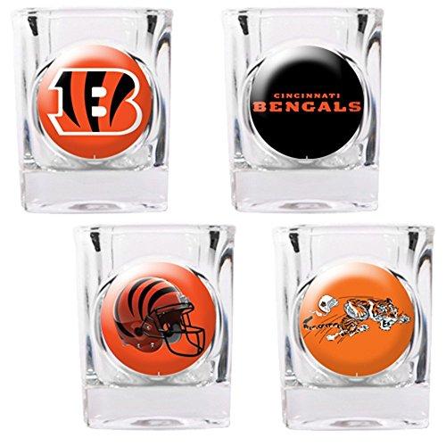 NFL Cincinnati Bengals Four Piece Square Shot Glass Set (Individual - 4 Square Bengals Piece