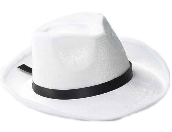 Amazon.com  White Felt Costume Fedora with Black Band  Clothing 443e4f0558d