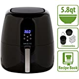 Simple Living 5.8qt Digital XL Air Fryer. 3 Piece Accessory Set & Recipe Book. 7 Cooking Settings (5.8Qt)