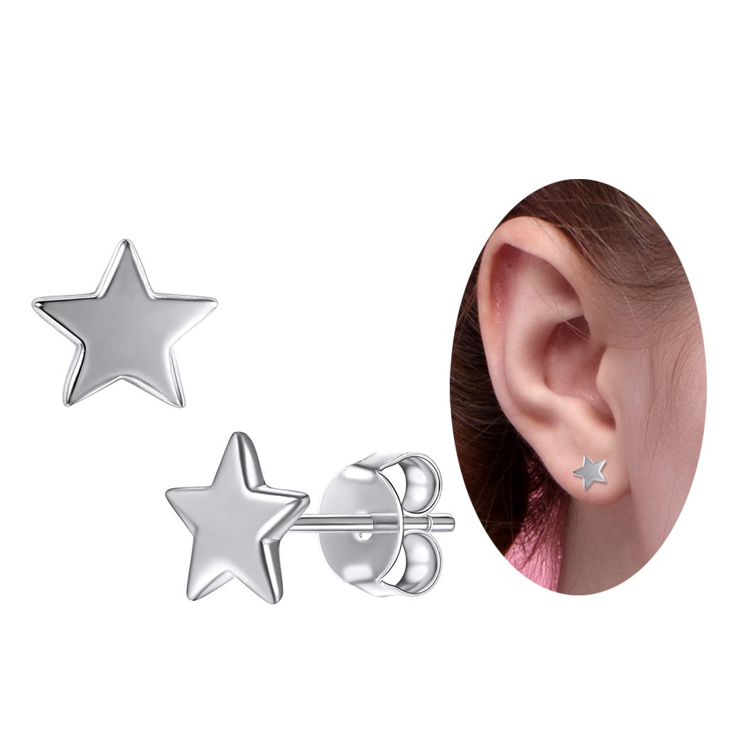 SILVERCUTE Star Stud Earrings Silver 925 Sterling Cute Girls Hypoallergenic Fine Jewelry (one Star)