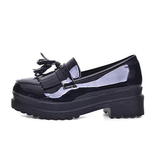 Mujeres Zapatos Casuales Primavera Cuero Oxfords Plataforma Slip-on Mujeres Pisos: Amazon.es: Zapatos y complementos