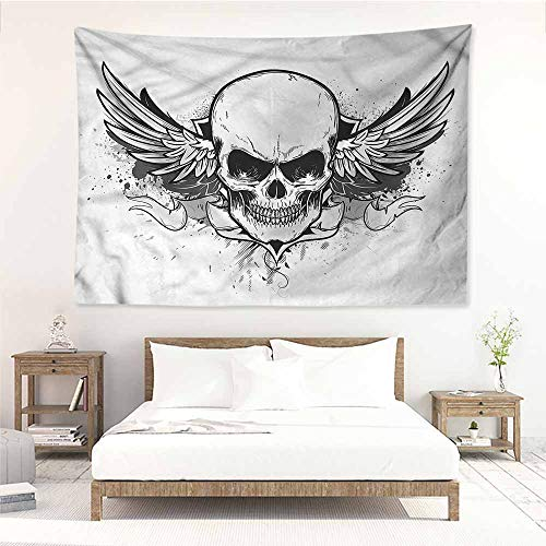 Sunnyhome Tapestry Hippie,Skull Double Winged Skeleton Latin,Wall Tapestry for Bedroom,W90x59L