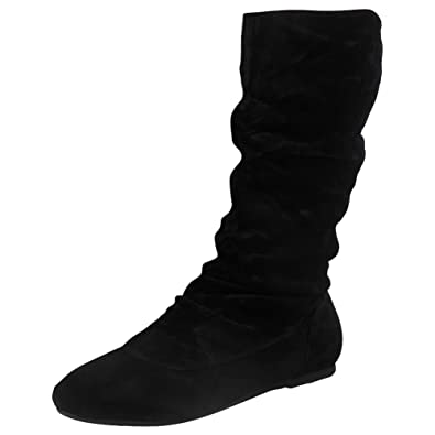23ab3defbd3017 Womens Pixie Mid Calf Rouched Flat Pull On Ladies Slouch Boots Size 4 Black