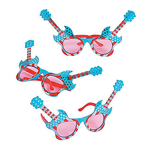 American Flag Sunglasses Guitar for Fourth of July Patriotic, Red White and Blue (12-Pack)