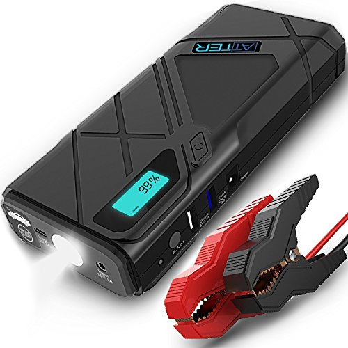 - Jump Starter Portable by ATTER | 1200A, 12000mAh Portable Power Bank (Up To 6.5 Litre Gas, 5.2 Litre Diesel Engine), with QC3.0 Fast Charging, 2 USB Ports, and LED Flashlight, 1 Year Warranty