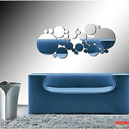 Fashion 30pcs Circular Modern Plastic Mirror Wall Sticker Decal Poster DIY Home Decor - Silver