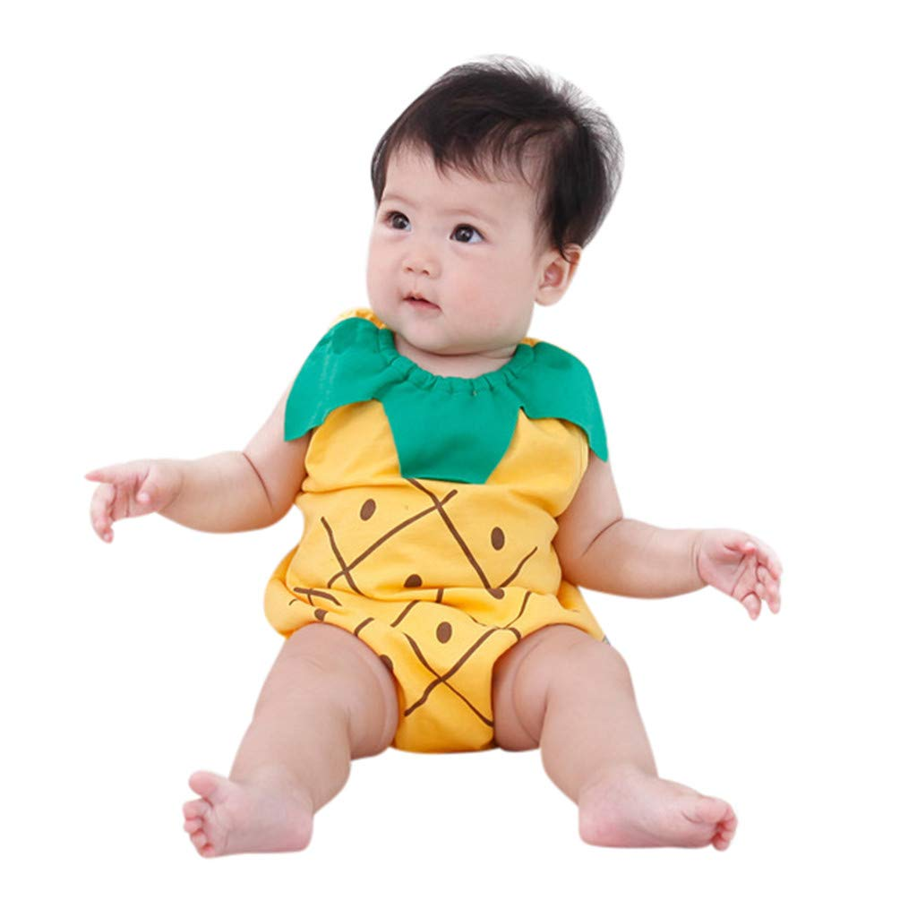 NUWFOR Boys Girls Cartoon Newborn Baby Lovely Bodysuit Fruit Strawberry Pineapp(Yellow,12-18 Months)