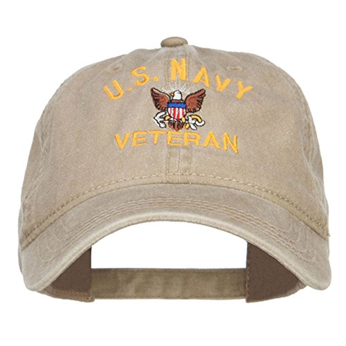Navy Us Khaki (US Navy Veteran Military Embroidered Washed Cap - Khaki OSFM)