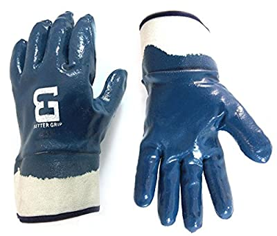 Better Grip Heavy Duty Premium Nitrile Rubber Fully Coated Gloves with Safety Cuffs, Smooth, Blue, Chemical Resistant, Large
