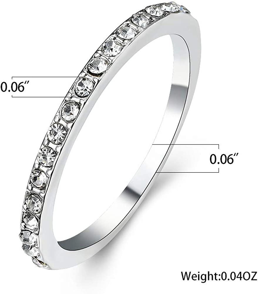 Bamos 925 Sterling Silver Rhodium Plated Rings with Round AAA CZ 3 Pieces Vintage Bridal Ring Sets for Women Size 6-10
