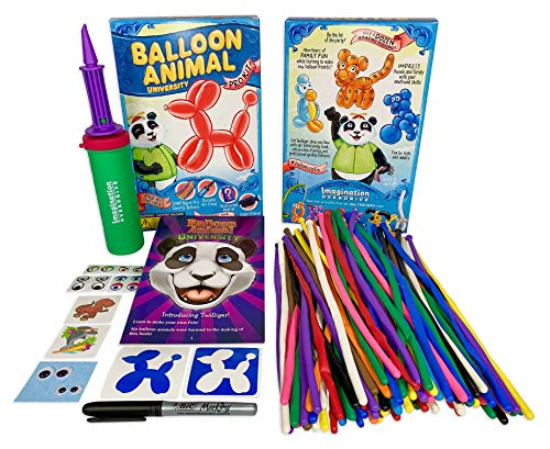 Balloon Markers - Balloon Animal University PRO Kit 101 balloons, Book & Video Training, Qualatex Balloons, Air Pump, BIC Marker, Googly Eyes, Tattoos & More! Learn how to Make Balloon Animals Holiday Gift Made In USA!