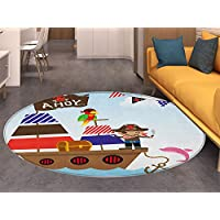 Ahoy Its a Boy Non Slip Round Rugs Cute Pirate Kids Treasure Chest with Ship on Ocean Background Illustration Oriental Floor and Carpets Multicolor