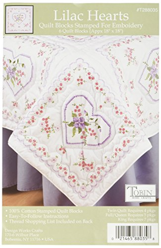 Tobin Stamped Quilt Blocks Cross Stitch Kit, 18 by 18-Inch, Lilac Hearts, White, 6 Per Package