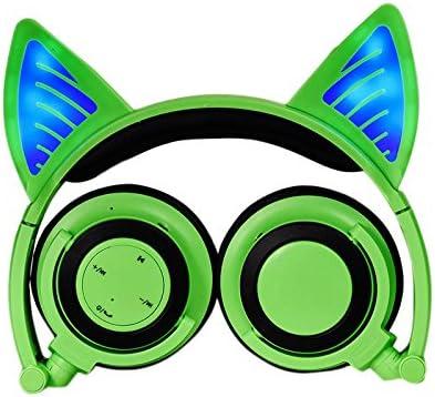 猫耳ノイズキャンセリングワイヤレスBluetoothヘッドセット、発光、マイク付き、ヘッドフォン用高品質サウンド、ゲーム、軽量、耐久性、ソフト7.1ch猫耳LEDライト/ USBポート搭載 (4)