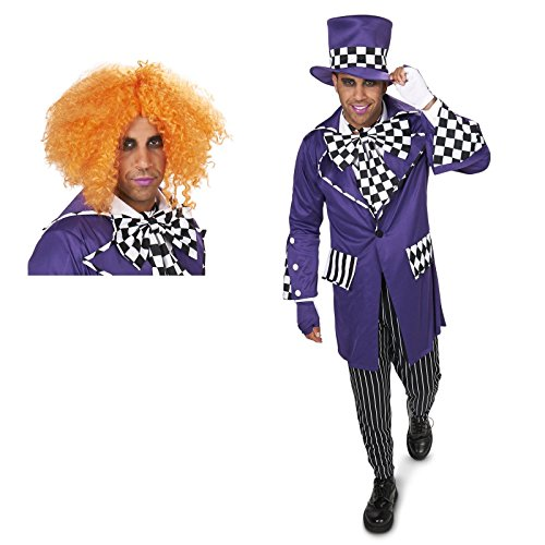 Black and Purple Gothic Mad Hatter Adult Costume and Wig Bundle Set - Medium (Fairy Tale Outfits For Adults)