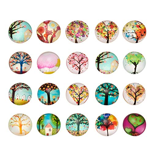 Pandahall 200PCS 12mm Tree of Life Printed Half Round Dome Glass Cabochons for Jewelry Making