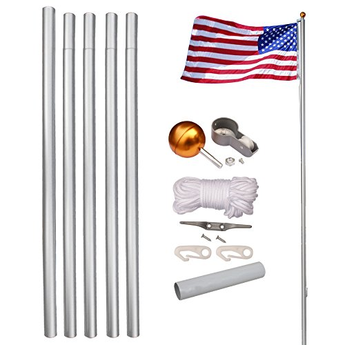 LEMY 20/25FT Flagpole Telescopic 5 Sectional Fly 2 Flags, Outdoor Aluminum Flag Pole Kit with The American Flag, Great for Residential or Commercial (20FT)