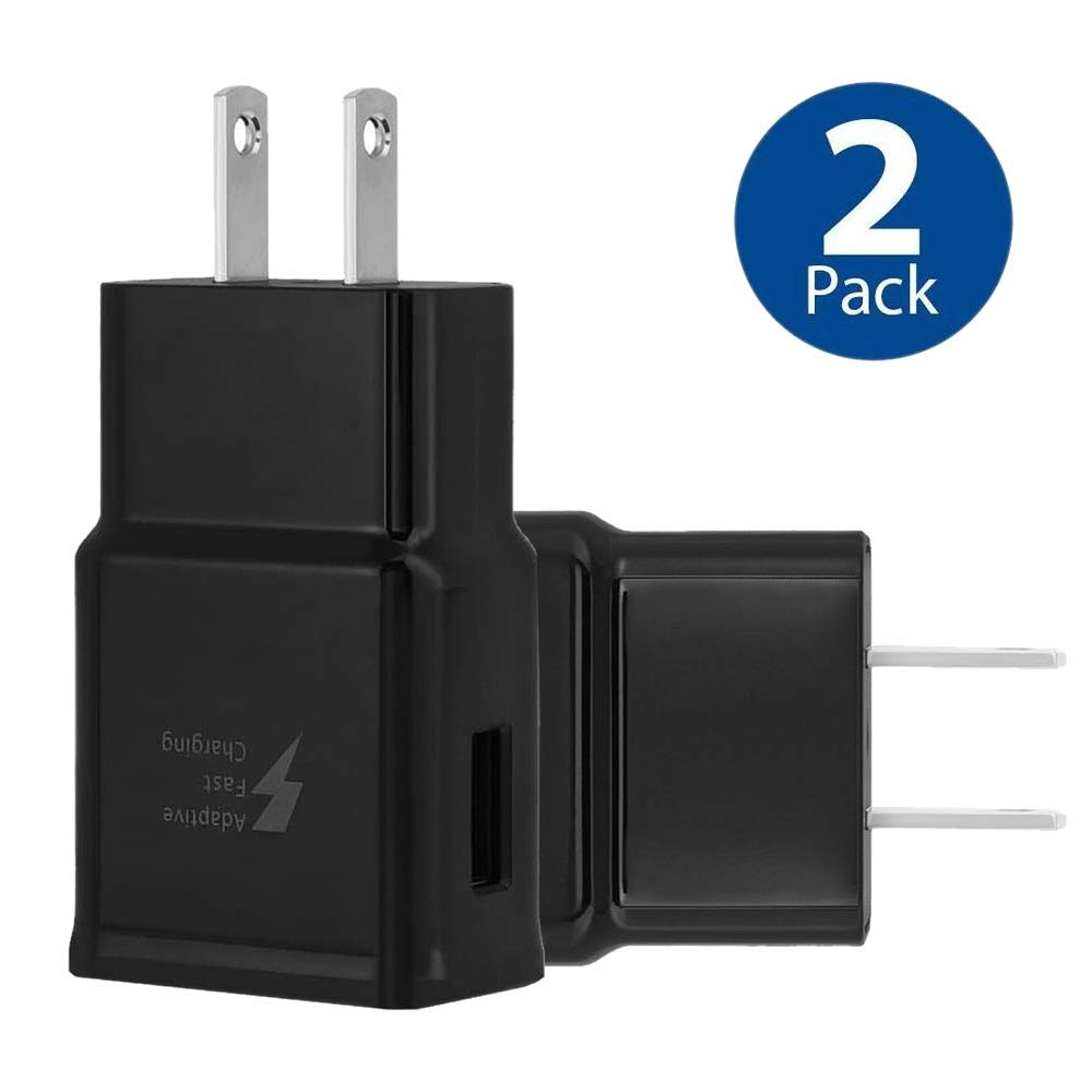 Adaptive Fast Charging Wall Charger Adapter Compatible Samsung Galaxy S6 S7 S8 S9 S10 / Edge/Plus/Active, Note 5,Note 8, Note 9, LG G5 G6 G7 V20 V30 ThinQ Plus EP-TA20JBE Quick Charge (2 Pack)