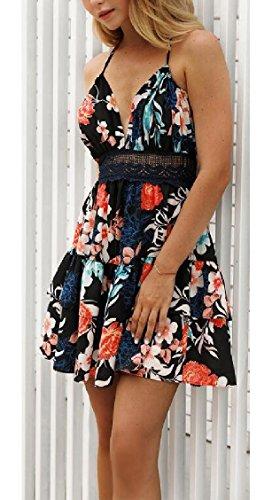 Print Black Backless Boho Dress Mini Floral Womens V Swing Strap Spaghetti Jaycargogo Sexy Neck wxaRSq1
