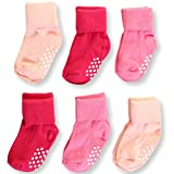 Aymoon Socks Baby Boys-Girls Non-Skid and Anti-Slip Turn Cuff Pack of 6 Multi-Color